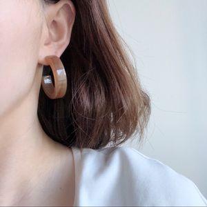 Jewelry - Light Brown C Shaped Acrylic Post Earrings